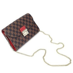 Crossbody Purse Brown Checkered